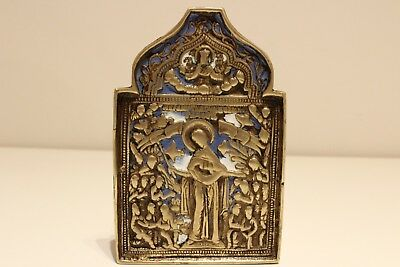 Antique Rare Collectible Russia Imperial Bronze Enamel Travel Orthodox Icon