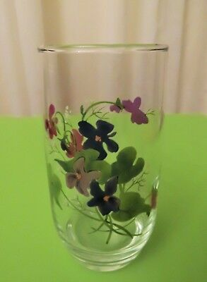 """Wild Violets Decorated Clear Glass Tumbler Cup Avon Collection 5"""" Tall"""
