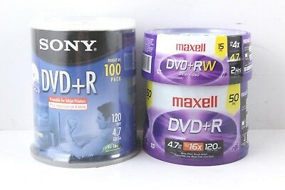 Sony DVD+Rs 100 Pack Maxell DVD+Rs 50 Pack and Maxell DVD+RWs 15 Pack Bundle