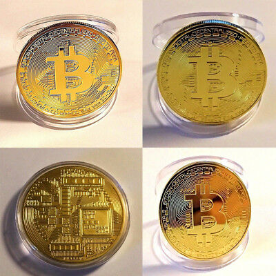 Gold BITCOIN Plated Protective acrylic case Bitcoin Collection Gifts US