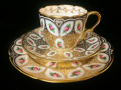 Antique Minton 1883 3 Piece Gold Trim - Trio Set with Hand Painted Roses