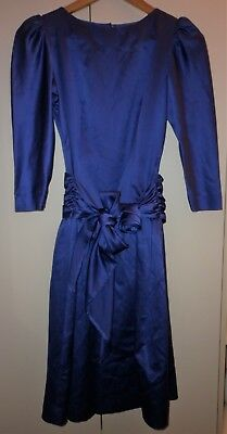 VINTAGE 1980s CLASSIC PURPLE FROU FROU PARTY DRESS  SIZE SMALL GOOD CONDITION