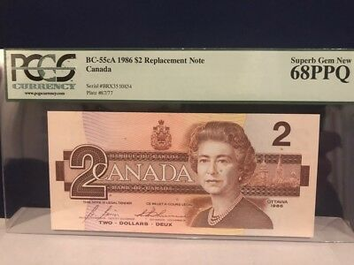 Bank-of-Canada 1986 BC 55cA $2 BRX replacement note Superb Gem PCGG 68PPQ .