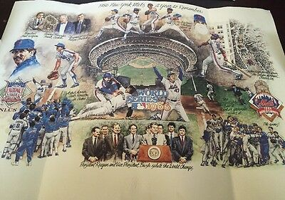 1986 Ny Mets World Series Lithograph Litho, A Year To Remember Made 1987