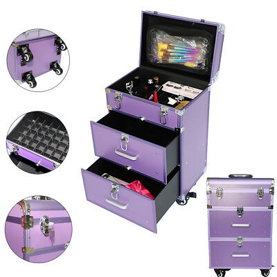 Professional Salon Spa Rolling Case Organizer Beauty Makeup Case W/ Drawers