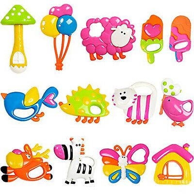 Baby Rattle Teether Handle Newborn Handbells Infant Toys Play Toy Gift Set 13PCS