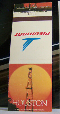 Rare Vintage Matchbook Cover G1 Piedmont Airlines Houston Texas Oil Well Sun