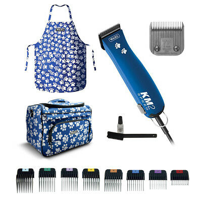 WAHL KM2 BLUE Pet Clipper +/- 7F +/- 1-8 Metal Guides KM-2 GROOMING BAG & APRON