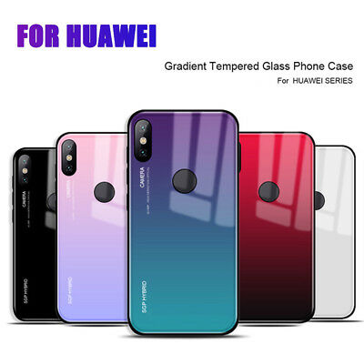Gradient GLASS BACK Shockproof Hybrid Case Cover For Huawei Mate 20 Lite P20 Pro