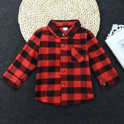Toddler Kids Baby Long Sleeve Plaids Shirt Boys Girls Blouse Tops Clothes Outfit