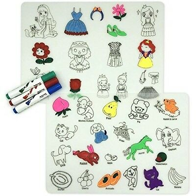Coloring Kids Placemats Doodle Fun Pad FDA Silicone Table Mat Drawing Washable