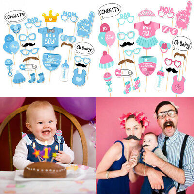 25pcs Baby Shower Photo Booth Props Little Boy Girls Mister New Born Party Decor