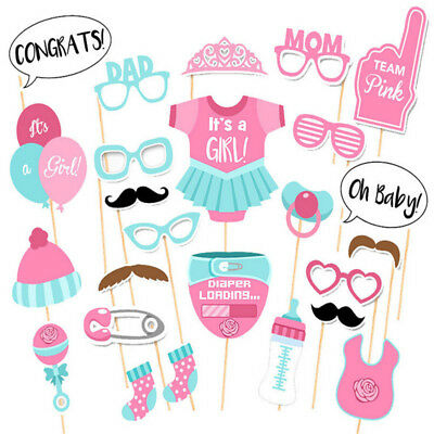 25 Baby Shower Girl Photo Booth Props Gender Reveal Selfie New Born Party Decor