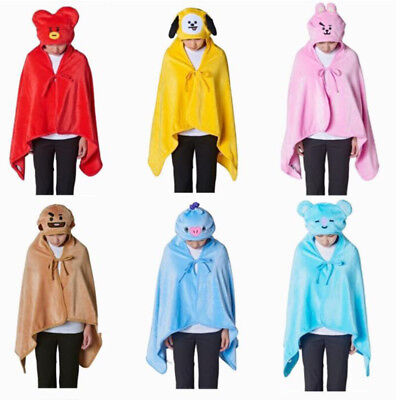 KPOP BTS Blanket Bangtan Boys Cartoon BT21 Plush Hooded Cape Cloak