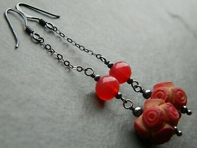 Art Deco Deeply Carved Coral Rose Celluloid Beads & Oxidised 925 Silver Earrings