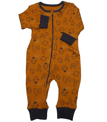 Boys All Over Print Romper Sleepsuit Cute Cowboy Cactus Design UK NB - 9/12mths