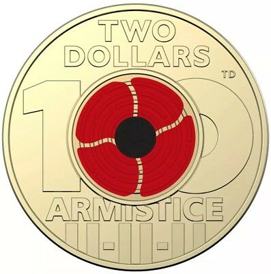 💰aust. 2018 Remembrance Day Armistice Centenary $2 Coloured Coin-From Mint Roll