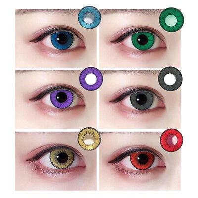 1Pair Circle Colored Contact Lenses Yearly Use Cosplay Party Colorful Eye Intell