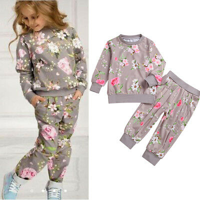 Toddler Kids Baby Girls T-shirt Tops+Pants Outfits Clothes Tracksuit 2PCS Set