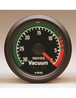 "VDO Cockpit Mechanical Vacuum Gauge 2 1/16"" Dia Black Face 150042"