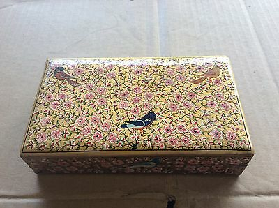 Vintage Square Box With Lid And Flowers & Birds