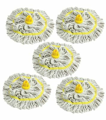 Colour Coded Mop Head Hygienic Cleaning Looped Pure Cotton Mop Socket YELLOW x 5