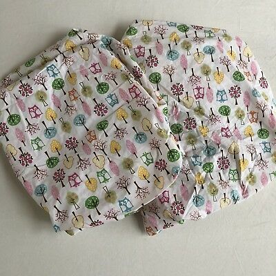 """Lot of 2 Pottery Barn Kids """"Brooke Owls"""" Crib Fitted Sheet"""