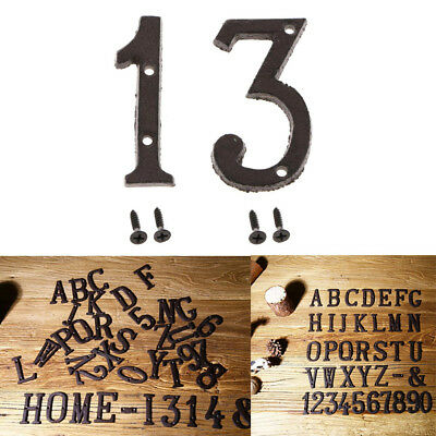 2pcs Wrought Iron Black Antique House Office Door Numbers Sign Plaque 1 3
