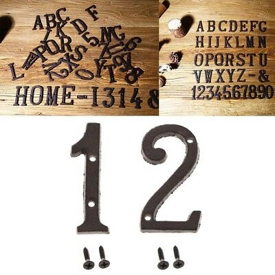 2pcs Wrought Iron Black Antique House Office Door Numbers Sign Plaque 1 2
