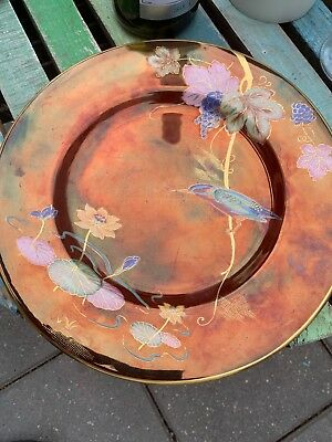 Carlton Ware Art Deco Kindfisher And Waterlilly Cabinet Display Plate