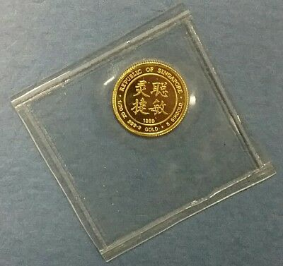 1989 SINGAPORE 5 Singold Year Of The Snake OMP Proof Gold Coin ONLY 5000 Minted!