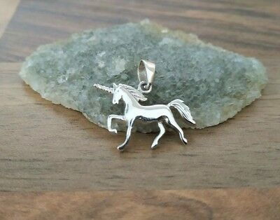 925 Sterling Silver - Shiny Unicorn Mythical Pendant Lovely! - Height 18mm