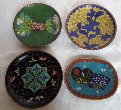 ANTIQUE CHINESE Cloisonne 4 SMALL PLATES  Enamel on Bronze Red W/ Floral Motif