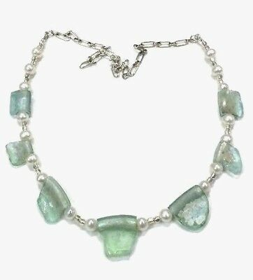 Roman Glass Necklace Sterling Silver 925 Authentic Fragments 200 B.C Bluish.
