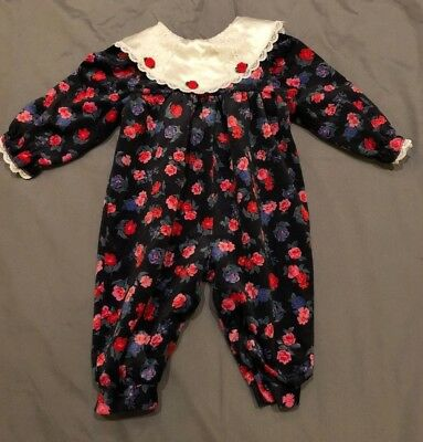 Vtg Baby Girl 9 Mo Floral Bubble Romper Jumpsuit 1-Piece Collar Lace USA Holiday