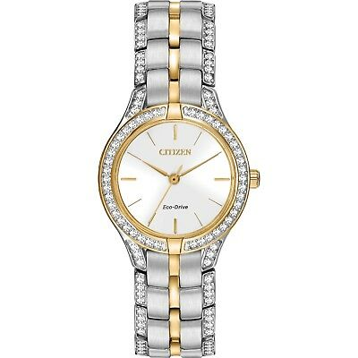 Citizen Silver Dial Two-Tone Stainless Steel Eco-Drive Women's Watch FE2064-52A