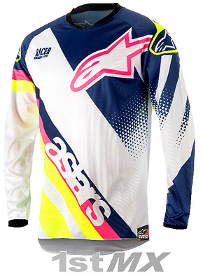 Alpinestar Racer Supermatic White Blue Yellow Kids Motocross Jersey Youth XLarge