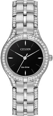 Citizen White Dial Crystal Stainless Steel Eco-Drive Women's Watch FE2060-53E