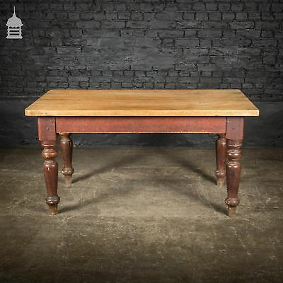 19th C Pine Scrub Top Farmhouse Scullery Table with Turned Legs