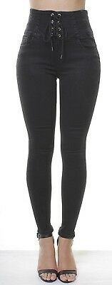 Womens HIGH WAISTED STRETCHY SKINNY Jeans Jeggings Tie Up Corset Pants 6 to 18