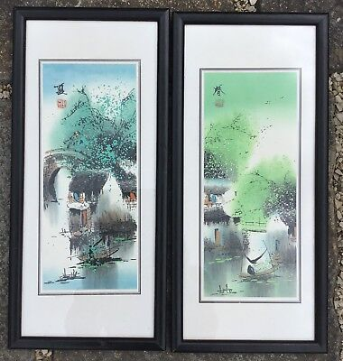 Pair Of Modern Japanese Bright Hand Coloured Prints Signed & Framed