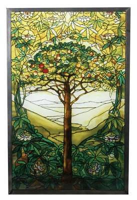"""Tiffany Style """"TREE OF LIFE"""" Stained Art Glass Window Panel Wall Hanging"""