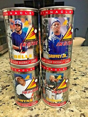 "Four 1997 Pinnacle Baseball ""Cards in a Can""  4 Can Lot - Great Christmas Gift"