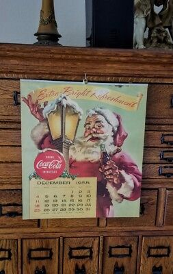 1955-1956 Jan-Dec Coca Cola Calendar Complete and with attached Metal Hanger FN