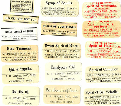 16 DIFFERENT VINTAGE OLD CHEMIST and POISON LABELS PHARMACIES in DEVON SYRUPS