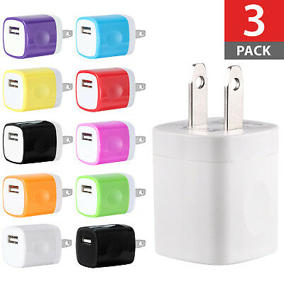 3-PACK USB Wall Charger AC Power Adapter US Plug FOR iPhone 7 8 X Xs Samsung LG