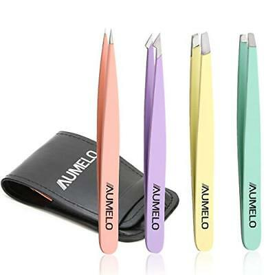 Tweezers Set 4-Piece Professional Stainless Steel Tweezers Gift with Leather by