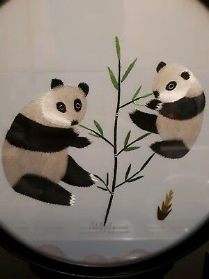 Vintage Japanese Silk Embroidery Table Screen Of 2 Pandas Stand Two Sided