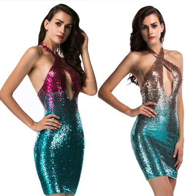 Sexy Women Ombre Gradient Shiny Sequin Bodycon Mini Dress Evening Party Clubwear