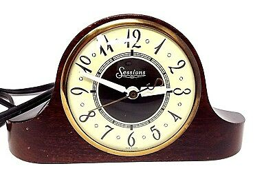 Vintage 1930s Sessions Art Deco Electric Mantle Clock Model 3W Working Condition